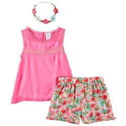 Forever Me Big Girls 3-pc. Peasant Top & Floral Shorts Set