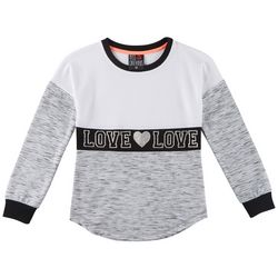 Miss Chievous Big Girls Love Heathered Crew Neck Sweater