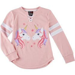Miss Chievous Big Girls Unicorn Lace-Up Neck Sweater