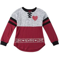 Miss Chievous Big Girls Love Always Lace-Up Neck Sweater