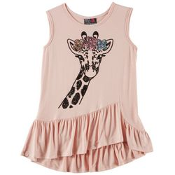 Miss Chievous Big Girls Ruffle Sequin Giraffe Sleeveless Top