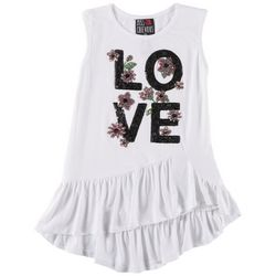 Miss Chievous Big Girls Ruffle Sequin Love Sleeveless Top
