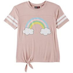 Miss Chievous Big Girls Rainbow Tie Front T-Shirt