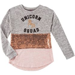 Miss Chievous Big Girls Sequin Unicorn Squad Sweater