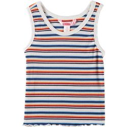 1st Kiss Big Girls Striped Rib Knit Tank Top