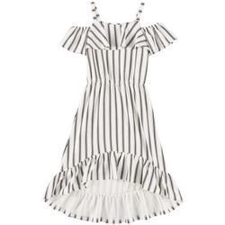 1st Kiss Big Girls Striped Ruffle Cold Shoulder