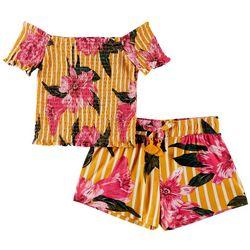1st Kiss Big Girls Smocked Floral Stripe Tie Shorts Set