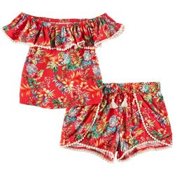 1st Kiss Big Girls Tropical Floral Pom Pom Shorts Set