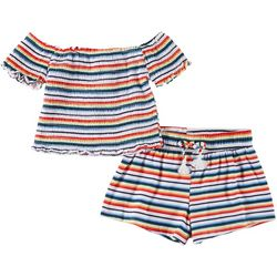 1st Kiss Little Girls 2-pc. Smocked Striped Shorts