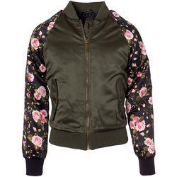 Pink Platinum Big Girls Floral Sleeve Bomber Jacket