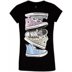 Converse Big Girls Shiny Sneaker Stack Tee