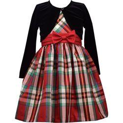 Bonnie Jean Big Girls Plaid Long Sleeve Cardigan Dress
