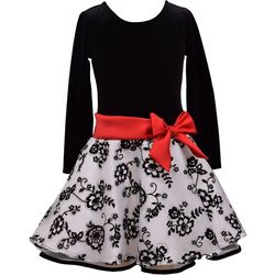 Bonnie Jean Big Girls Sparkly Floral Ribbon Dress