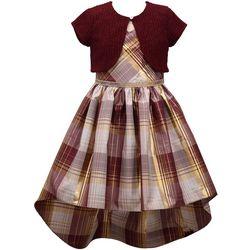 Bonnie Jean Big Girls Plaid High-Low Cardigan Dress