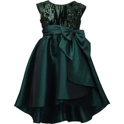 Bonnie Jean Big Girls Sequin Velvet Bow Dress