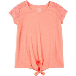 French Toast Big Girls Lace Tie Front Top