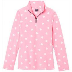 French Toast Big Girls Hearts Fleece Pull Over Jacket