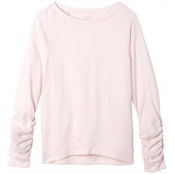 French Toast Big Girls Solid Ruched Sleeve Pull Over Top