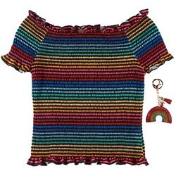 Beautees Big Girls Rainbow Smocked Top With Keychain