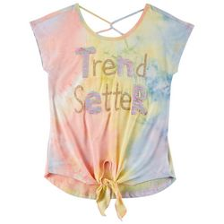 Beautees Big Girls Tie Dye Trend Setter Tie Front Top