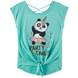 Beautees Big Girls Party Panda-Corn Tie Front Top