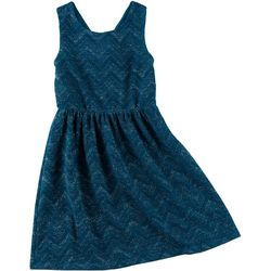 Trixxi Big Girls Glittery Chevron Pattern Dress
