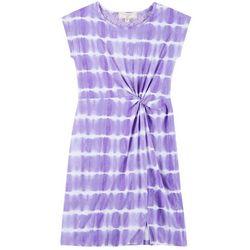 No Comment Big Girls Tie Dye Print Twist Front Dress