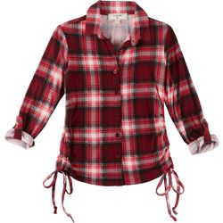 No Comment Big Girls Plaid Button Up Ruched Side Top
