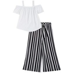 No Comment Big Girls 2-pc. Solid Top and Stripe Pant Set