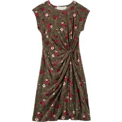 No Comment Big Girls Floral Print Twist Front Dress