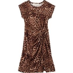 No Comment Big Girls Leopard Print Twist Front Dress