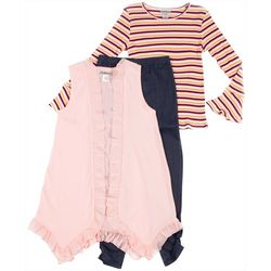 Satin Flowers Big Girls 3-pc. Striped Top & Leggings Set