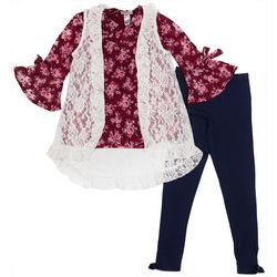 Satin Flowers Big Girls 3-pc. Lace Vest & Leggings Set
