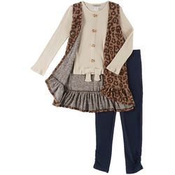 Satin Flowers Big Girls 3-pc. Leopard Vest & Leggings Set