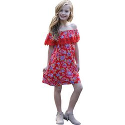 Angie Big Girls Floral Print Marilyn Neck Dress
