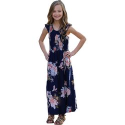 Angie Big Girls Smock Detail Floral Print Maxi