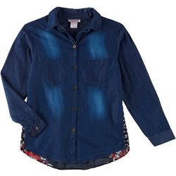 Angie Girl Big Girls Chambray Print Shirt