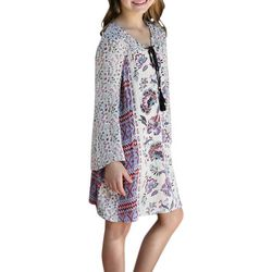 Angie Girl Big Girls Border Print Dress