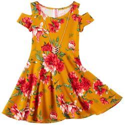 Cute 4 U Big Girls Floral Print Cold Shoulder Dress