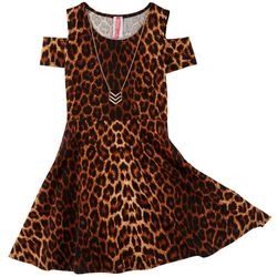 Cute 4 U Big Girls Animal Print Textured Cold Shoulder Dress