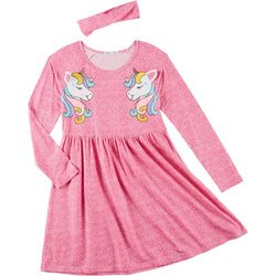 Freestyle Big Girls Unicorn Yummy Long Sleeve Dress