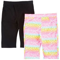 Freestyle Big Girls 2-pk. Animal & Solid Bermuda Shorts