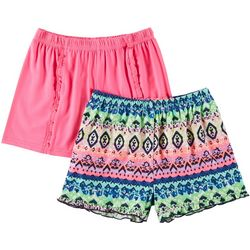 Freestyle Big Girls 2-pk. Tribal & Solid Ruffle Shorts