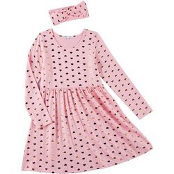 Freestyle Big Girls Heart Print Long Sleeve Dress