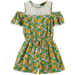 Derek Heart Girl Big Girls Banana Print Romper