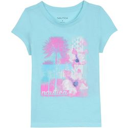 Nautica Big Girls Watercolor Palm Tree T-Shirt