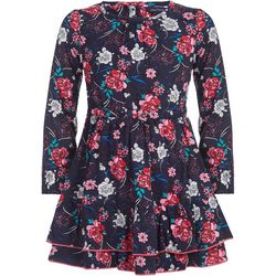 Nautica Big Girls Floral Print Long Sleeve Ruffle Dress