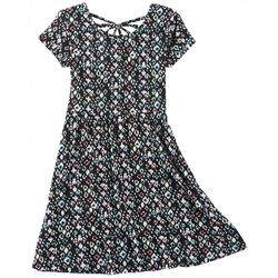 Green Soda Little Girls Brush Dot Print Cap Sleeve Dress