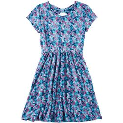 Green Soda Little Girls Scattered Dot Print Cap Sleeve Dress
