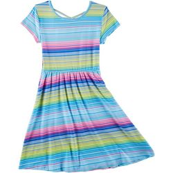 Green Soda Little Girls Stripe Print Cap Sleeve Dress